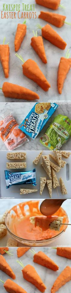 Krispie Treat Easter Carrots- Super easy Easter treats using store bought Krispie Treats. Great last minute Easter snack. Perfect for dessert or to wrap for Easter baskets. (Last Minutes Dessert) Easter Snacks, Easter Candy, Hoppy Easter, Easter Treats, Easter Recipes, Easter Food, Easter Deserts, Easy Easter Desserts, Easter Eggs
