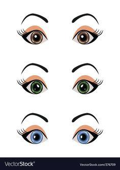 Doll Eyes, Doll Face, Flower Pot People, Face Template, Crochet Eyes, Cartoon Eyes, Female Eyes, Eye Painting, Face Design