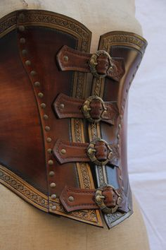 Steampunk Leather work 119 by HamraBDG Steampunk Corset, Steampunk Clothing, Steampunk Fashion, Pirate Corset, Pirate Garb, Leather Armor, Leather Corset, Leather Bags, Leather Jewelry