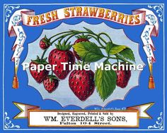 Vintage STRAWBERRIES Ad/Label Print - Digitally Remastered Early 20th Century Food Print Kitchen Home Art