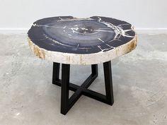 David Alan Collection - Live edge petrified wood side table. www.thedavidalancollection.com