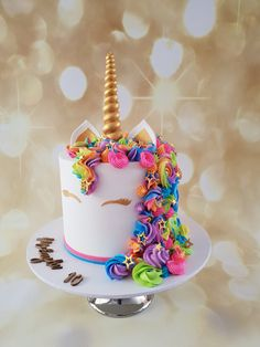 Rainbow Unicorn Buttercream cake – The Quirky Cake Society - birthday Cake Ideen Bolo Neon, Lemon And Coconut Cake, Birthday Cake Girls, 7th Birthday, Birthday Ideas, Buttercream Cake, Savoury Cake, Party Cakes, Rainbow Unicorn