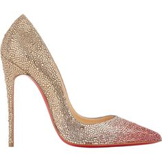 Christian Louboutin Women's So Kate Pumps ($3,995) ❤ liked on Polyvore featuring shoes, pumps, pink, pink high heel shoes, embellished pumps, pointed-toe pumps, christian louboutin shoes and christian louboutin pumps