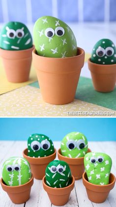Pet Cactus Rocks - The Best Ideas for Kids CACTUS PET ROCKS 🌵 - such a fun rock painting craft! Learn how to make these easy cactus rocks. This is a simple tutorial and a fun craft for kids! Make a whole cactus rock family too! Fun Crafts For Kids, Summer Crafts, Cute Crafts, Projects For Kids, Crafts To Sell, Craft Projects, Craft Kids, Kids Diy, Kids Garden Crafts