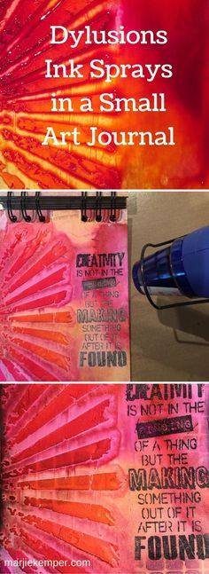 Art journaling in a small journal with Dylusions Ink Sprays (Marjie Kemper)