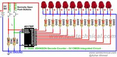 5 State Johnson Counter Using CMOS 4017BP With RESET Enable | IamTechnical.com