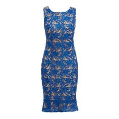 D.Anna Sleeveless Lace Dress In Blue ($110) ❤ liked on Polyvore featuring dresses, blue summer dress, lacy dress, form fitting dresses, no sleeve dress and summer dresses