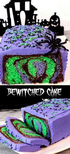 Our Bewitched Cake for Halloween is a beautiful and colorful Halloween Dessert that is easy to make and will make a big impact at your Halloween party. Your family or party guests will be amazed when you cut open this cake and display the amazing Hallowee Halloween Desserts, Halloween Torte, Pasteles Halloween, Halloween Baking, Halloween Goodies, Halloween Food For Party, Halloween Birthday, Holidays Halloween, Halloween Kids