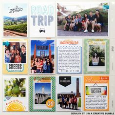 In a Creative Bubble: Project Life: Road Trip Insert - I love the photos cut to fit the cards with a border around the edge.