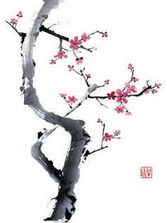 Internationally exhibited Chinese Brush Painter Nan Rae offers her greeting cards, fine art prints, art lessons and brush painting supplies. Japanese Painting, Chinese Painting, Japanese Art, Tattoo Japanese, Sakura Painting, Chinese Brush, Chinese Art, Chinese Kunst, Sumi E Painting