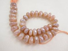 """""""118CTS/37BEADS NATURAL PINK MOONSTONE 8 10 mm faceted rondelle beads 8"""" strand Jewelry making supplies"""""""