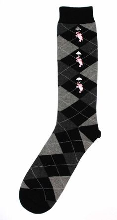 Mens Dress Sock - Oberon Socks - Black Grey Argyle with Pink Elephants