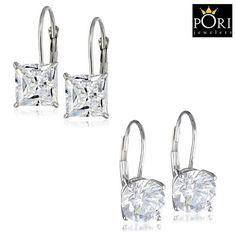 2 Pairs: PORI 18-Karat White Gold-Plated Leverback Earrings Made with Swarovski Elements at 90% Savings off Retail!