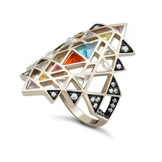 Nila Ring in grey gold with coloured gemstones and diamonds by Noor Fares