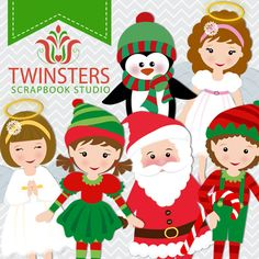 Christmas characters clipart png digital clipart  by Twinsters