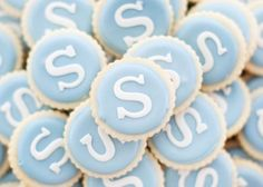 Custom Monogrammed Fluted Tea Cookies in Pale Blue & White