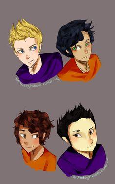 The boys. Jason, Percy, Leo, and Frank.