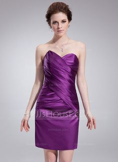 Cocktail Dresses - $90.99 - Sheath/Column Sweetheart Knee-Length Charmeuse Cocktail Dress With Ruffle (016008233)