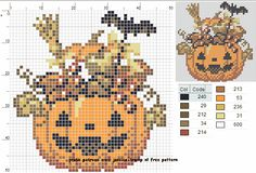 Halloween perler bead pattern Fall Cross Stitch, Beaded Cross Stitch, Crochet Cross, Cross Stitch Embroidery, Halloween Embroidery, Halloween Cross Stitches, Cross Stitch Designs, Cross Stitch Patterns, Free Cross Stitch Charts