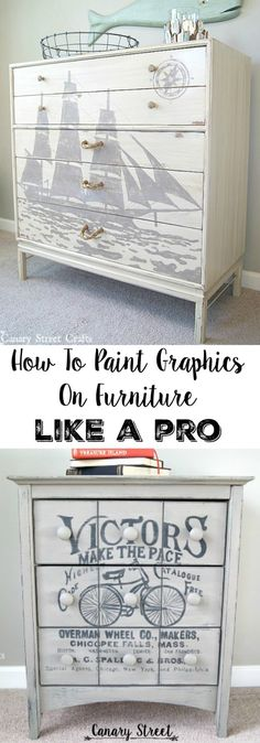 Step by step instructions for painting gorgeous graphics on furniture. This technique can also be used to paint on walls or to make unique signs. http://canarystreetcrafts.com/