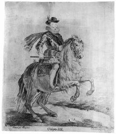 Goya y Lucientes, Francisco de: dibujos de Velázquez: Retrato ecuestre de Felipe III.