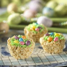 Easter basket rice krispie treats with jelly beans.