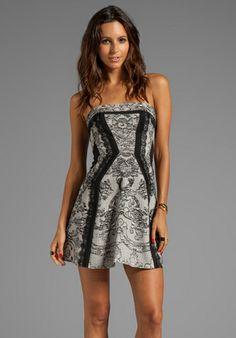 BCBGMAXAZRIA Strapless Print Dress in Black Combo at Revolve Clothing - Free Shipping!