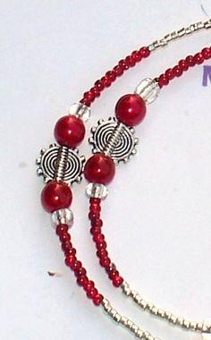 Handmade 35 RED and SILVER  EYEGLASS Chain  by MYBODACIOUSBEADS, $18.00