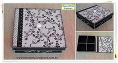 Caixa floral preta e branca madeira http://amocarte.blogspot.com.br/