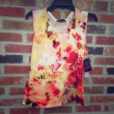 """JNY Pretty Lightweight Sleeveless Top 24"""" long, colors include: red, orange, yellow, green, brown & a little lilac ... Great for all seasons Jones New York Tops"""