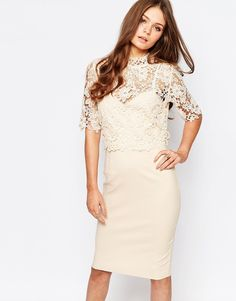 Paper Dolls High Neck Lace Dress with Pencil Skirt - I like this style, but the other one like this maybe more?