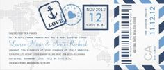 #nautical boarding pass style ticket - perfect for the travel-themed #destination #wedding. $2.30