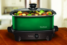 5+Qt.+Oblong+Slow+Cooker+with+Tote,+Green  Beautiful