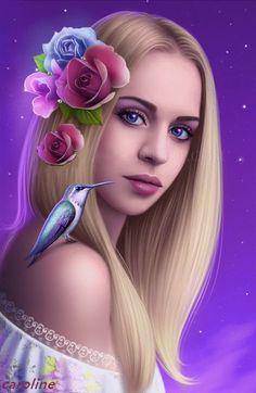 Анимация Девушка с цветами в волосах и с птицей на плече, автор Caroline, гифка Девушка с цветами в волосах и с птицей на плече, автор Caroline
