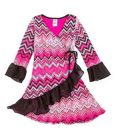 Another great find on #zulily! Pink & Black Wrap Dress - Toddler & Girls #zulilyfinds