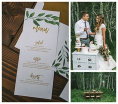 Gold leafed wedding dinner menu | LDS Bride  Blog | Latter Day Bride | modest wedding dress | lace | earthy | naked cake | bohemian | mountains