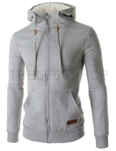 (MZJ02-GRAY) Mens Casual Leather Patched Zipper String Inner Faux Fur Hooded Jacket