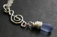 Musical Note Necklace. Treble Clef Necklace. Music Necklace. Clouded Blue Teardrop Necklace in Silver. Handmade Jewellery. by TheTeardropShop from The Teardrop Shop. Find it now at http://ift.tt/PkPAJU!