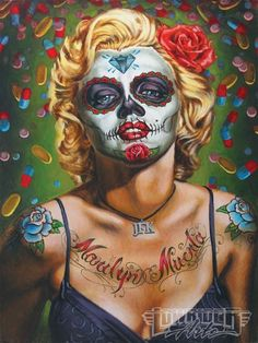 Marilyn Monroe as a crazy Harley Quinn. Pic from low rider art magazine. I love it!
