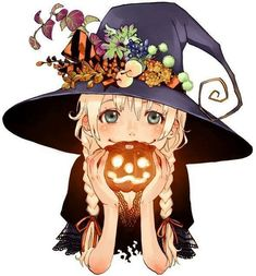 Halloween anime girl cute witch pumpkin anime witch Image about anime in Halloween by Maria M on We Heart It Anime Halloween, Halloween Mono, Feliz Halloween, Cute Halloween, Halloween Images, Halloween 2015, Manga Girl, Manga Anime, Anime Art