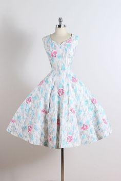 Vintage 50s Dress | 1950s Marc-el Fashions . | rhinestone cotton dress | large…