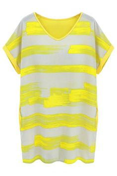 I didn't know this is where this shirt was from! V-neck Striped Loose Yellow Dress