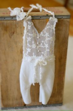 Stunning little romper set made out of upcycled and high fashion lace detailed with fresh water pearlsSuitable NB shipped in 4 daysPhoto prop