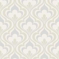 Beacon House 56 sq. ft. Lola Grey Ogee Bargello Wallpaper-2535-20600 - The Home Depot