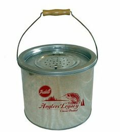 Frabill Galvanized Floating Bucket (2-Piece), 8-Quart by Frabill. $25.56. Always floats door up thanks to interior buoyancy collar. Super tough galvanized steel. Large easy to open access lid. Multiple aeration holes for better circulation. From the Manufacturer                The Frabill pail that started it all still a fishing favorite. Removable inner bucket attaches to dock for continuous aeration.                                    Product Description                Th...