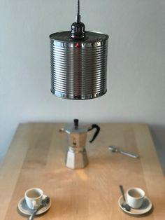 Trendige Loft Lampe (Einsatzbereit). Geschenkidee für den Valentinstag. Upcycling aus Konservenbüchse (Metallic Industriedesign)  Lampenschirm: Konservenbüchse (Durchmesser 16cm)  Fassung: Hochwertige Messingfassung, E27  Kabel: Textilkabel, ca. 180cm  Höhenverstellbar: mit dem praktischen wie raffiniertem Quick-Clip ist die Lampenhöhe einfach verstellbar (ist dabei).  Baldachin: Zylindrischer Lampenbaldachin aus Metall (schwarz)  Leuchte: LED Loft Lampe, Lighting, Home Decor, Recycled Tin Cans, Flagstone, Bedside Lamp, Industrial Design, Floor Lamp Base, Lights