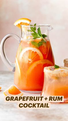Best Rum Drinks, Rum Cocktail Recipes, Grapefruit Cocktail, Alcohol Drink Recipes, Grapefruit Juice, Cocktail Drinks, Fun Drinks, Beverages, Refreshing Cocktails