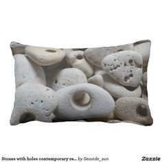 Stones with holes contemporary reversible cushion