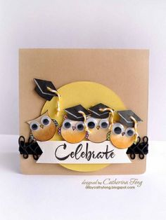 Make this with Stampin' Up owl punch Butterflies. stampin up I love it, Owl Punch Cards, Owl Card, Bird Cards, Graduation Cards, Congratulations Card, Paper Cards, Creative Cards, Cute Cards, Scrapbook Cards