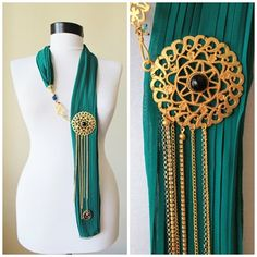 very unusual bohemian green silk scarf with gold medallions, chain, pleated fabric, asymmetrical styling